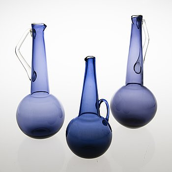 TAMARA ALADIN, Three glass decanters, Riihimäen Lasi, Finland 1961-66.