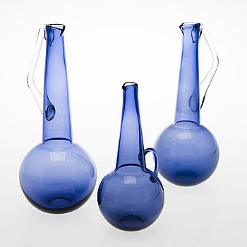 TAMARA ALADIN, Three glass decanters, Riihimäen Lasi, 1961-66.