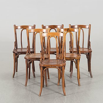 A SET OF 6 THONET STYLE CHAIRS, second half of 20th century.