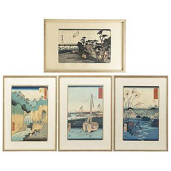 UTAGAWA HIROSHIGE (1797-1858), efter, färgträsnitt. fyra stycken, Japan, 1900-tal.