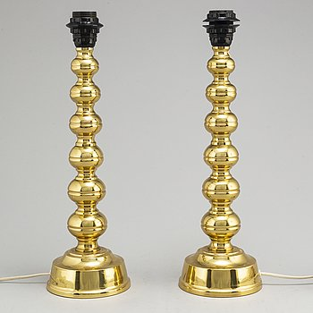 A pair of yellow metal table lights by ENCO, 1960's/70's.