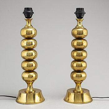 A pair of brass table lights by ENCO, 1960's/70's.