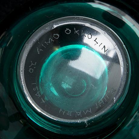 Aimo okkolin, three 'nimipäivä' vases signed riihimäen lasi o.y. aimo okkolin.