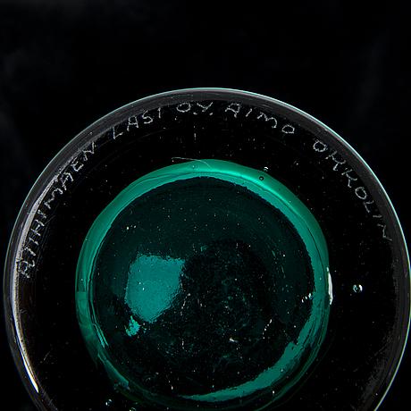 Aimo okkolin, bowl and two 'stromboli' vases  signed riihimäen lasi o.y. aimo okkolin