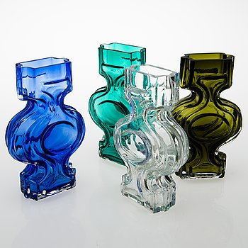 HELENA TYNELL, Four 'Emma' vases for Riihimäen Lasi Oy. In production 1968-1970.