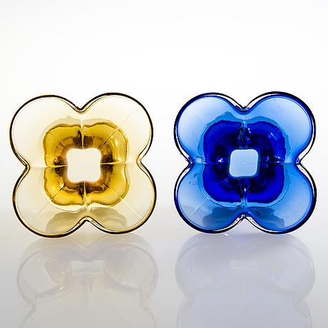 Helena tynell, three 1970's vases for riihimäen lasi oy