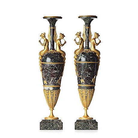 A pair of french empire-style vases, design after claude galle, second half of the 19th century.