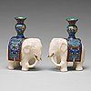 A pair of cloisonné and marble elephant candle holders, late qing dynasty, about 1900.