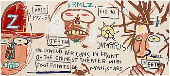 "567. Jean-Michel Basquiat After, ""Hollywood Africans in Front of the Chinese Theater with Footprints of Movie Stars""."