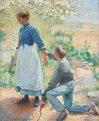 Gottfrid kallstenius, young couple in love, garden scene from grez, france.