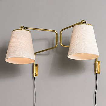 PAAVO TYNELL, A pair of mid 20th century '9414' wall lights for Taito Finland.