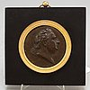 PortrÄttmedaljong, föreställande johan tobias sergel, koppar och brons, empire, 1800-talets första hälft.