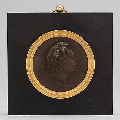 A swedish empire copper and gilt bronze portrait medallion representing carl michael bellman
