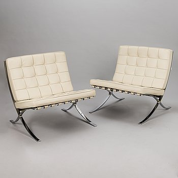 LUDWIG MIES VAN DER ROHE, a pair of 'Barcelona' easy chairs, Knoll Studio.