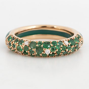 green enamel, gold and emerald and brilliant-cut diamond band ring.