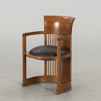 "FRANK LLOYD WRIGHT, ""Barrel Chair"" model no 606, Cassina."