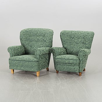 A LADY'S AND A GENTLEMANS ARMCHAIR, 1940's.