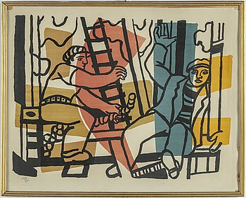 "FERNAND LÉGER, lithograph in colours, ""Les constructeurs"", signed and numbered 150/260."
