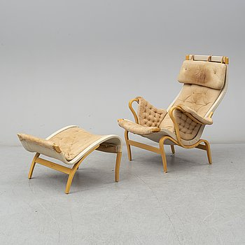 BRUNO MATHSSON, BRUNO MATHSSON, a 'Pernilla' beech easy chair and footstool from Dux.