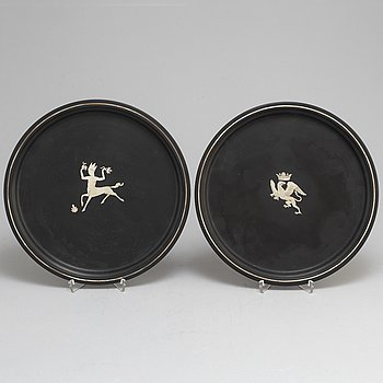 Two isolite plates by Wilhelmina Wendt, perstorp, 1941 and 1944.