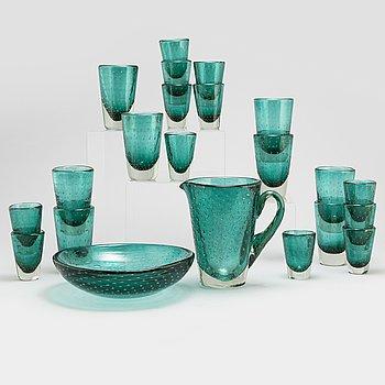A 23-piece glass service, Murano, Venice, Italy, mid 20th Century.