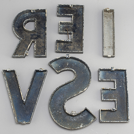 Six metal letters, second half of the 20th century.