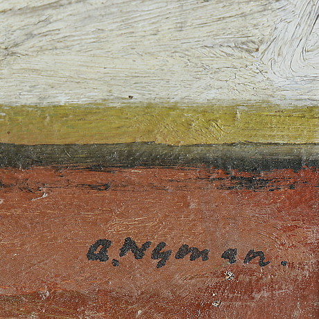 Olle nyman, oil on panel, signed
