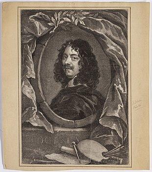 PARTI GRAFIK, 14 delar, mezzotint och akvatintgravyrer, bl.a. England 1700-tal.