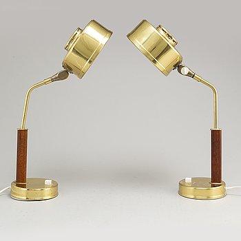 A pair of brass and teak table lights from BJS skelefteå, 1960's.