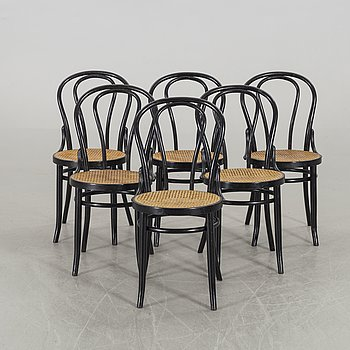 A SET OF SIX BENTWOOD CHAIRS SECOND HALF OF 20TH CENTURY,