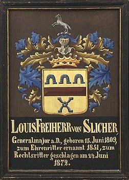 Coat of Arms, Baron General Major Louis von Slicher, 1872.