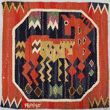 "MÄRTA MÅÅS-FJETTERSTRÖM, A TEXTILE, ""Röd häst med föl"", flat weave, ca 38,5x38,5 cm."