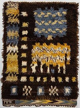 "MÄRTA MÅÅS-FJETTERSTRÖM, A RUG, ""Fåren"", knotted pile, ca 68,5 x 48 cm, signed MMF."