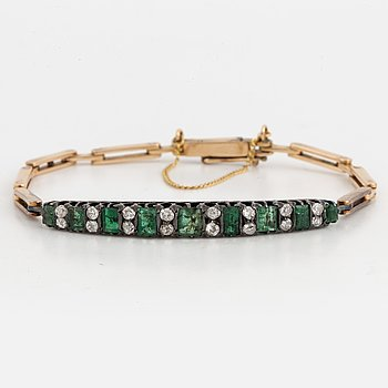 Emerald and old-cut diamond bracelet.