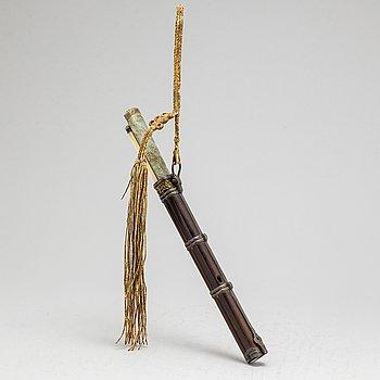 RESEBESTICK, metall, trä, ben och sten, sen Qingdynasti.