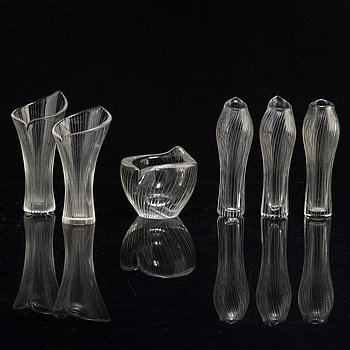 Five glass vases and a bowl by Tapio Wirkkala, Iittala.