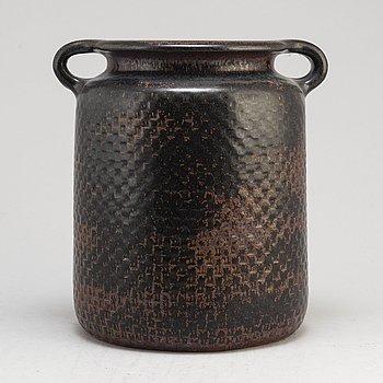 A stoneware vase by Stig Lindberg, signed, Gustavsberg studio.