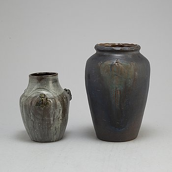 HILMA PERSSON-HJELM, two earthemware vases from Rackstad, Värmland, signed and dated 1910 and 1918.