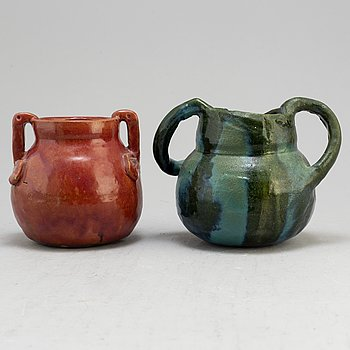 Two vases by Ragnhild Godeius, signed and dated 1912 and 1914.