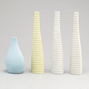 Four 'Reptil' stoneware vases by Stig Lindberg, Gustavsberg.
