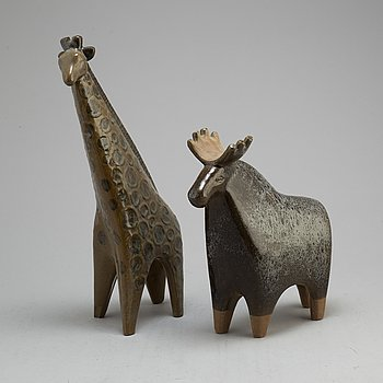 LISA LARSON, two 'Stora Zoo' stoneware figurines from Gustavsberg, 1958-79.