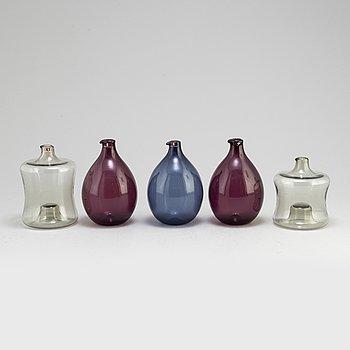 TIMO SARPANEVA, vaser, 5 stycken, glas, Iittala, Finland, signerade, 1900-talets andra hälft.