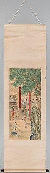 RULLMÅLNING, tusch och färg på siden. Zhou Kun, hans skola, 1900-talets första hälft.
