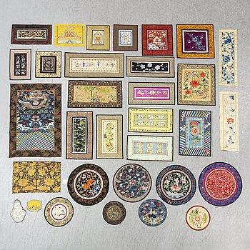 32 Chinese silk textiles, 20th century.