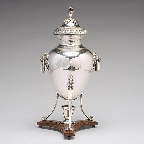 A swedish 18th century silver hot water urn, mark of pehr zethelius, stockholm 1798