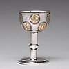 A swedish 18th century parcel-gilt silver tumbler / cup, with copper coins, unmarked.