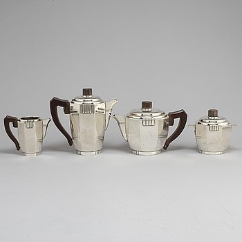 A silver plate Ravinet d'Enfert four-piece tea and coffee set from Paris, France, early 20th Century.