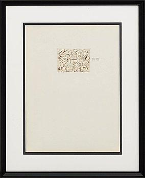"""JOAN MIRÓ, etsning, avdrag från makulerad plåt avsedd för Derrière le Miroir """"10 ans"""" 1956."""
