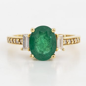 Emerald, baguette and brilliant-cut diamond ring.