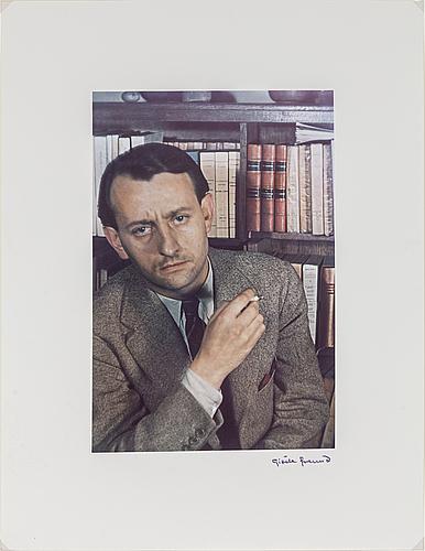 GisÈle freund, fotografi signerat och stämplat, porträtt av andré malraux.